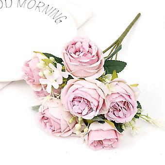 Pink rose artificial silk flowers for home decoration accessories wedding scrapbook box arrangement christmas peony fake bouquet