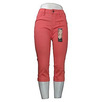 Laurie Felt Women's Women's Petite Denim Capri Pull-On Jeans Pink A378794