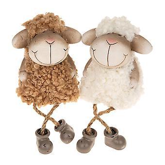LAATSTE PAAR - Paar 19cm Wit en Bruin Dangly Benen Fluffy Sheep Home Ornament
