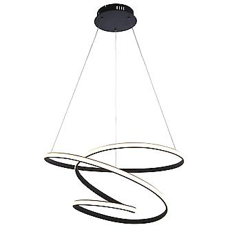 Endon Dune Modern Designer LED Lampada a sospensione Swirl Finitura nera strutturata