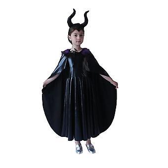 3st Barn Cosplay Svart Häxa Cosplay Cloak Dress Halloween