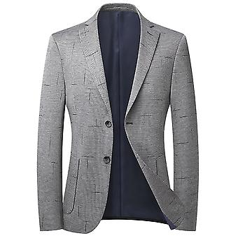 Mile Men's Houndstooth Single Row Two Buttons No Slit Casual Suit Light Grey