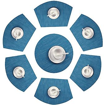 Round Table Placemats Set Of 7 Wedge Placemats With Centerpiece Woven Vinyl Heat Resistant Table Mats Wipe Clean(7, Teal Blue)