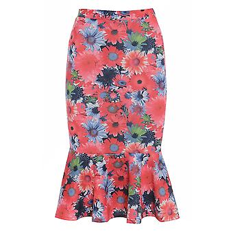 Floral Pencil Skirt with Peplum Hem