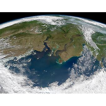Satellite view of the Ob and Yenisei rivers as they carry sediments into the Kara Sea Poster Print