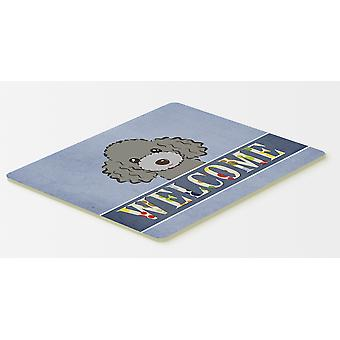 Silver Gray Poodle Welcome Kitchen or Bath Mat 20x30