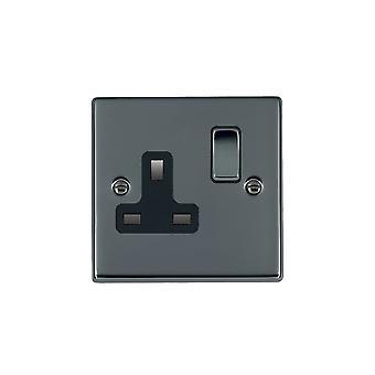 Hamilton Litestat Hartland Black Nickel 1g 13A DP Switched Socket BK/BL