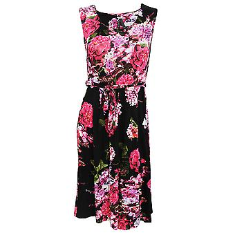 Womens/Ladies Rose And Heather Print Sleeveless Summer Dress