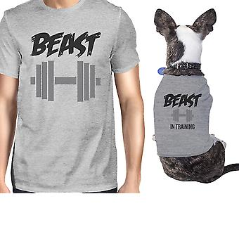 Beast In Training Small Dog and Owner Matching Shirts Grey Gifts