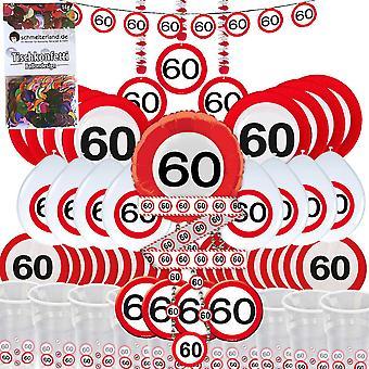 Festa caixa 60 aniversário 58-teilig Deco tráfego sinal pacote de festa