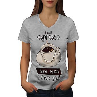 Espresso Love Pun Funy Naisten GreyV-Neck T-paita | Wellcoda, mitä sinä olet?