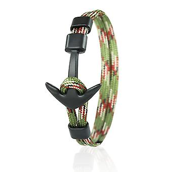 Skipper anchor bracelet 21 cm nylon arm jewellery in olive multi colored with black anchor 6962