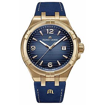 Maurice Lacroix Mens Aikon Limited Edition Bronze affaire veau bleu bracelet AI1028-BRZ01-420-1 montre