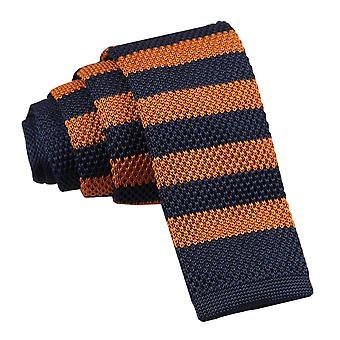 Navy & Orange Striped Knitted Skinny Tie