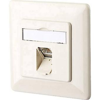 Metz Connect 1307371001-I Network outlet Flush mount Insert with main panel and frame CAT 6 1 port Oyster white