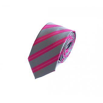 Schlips Krawatte Krawatten Binder 6cm grau pink gestreift Fabio Farini