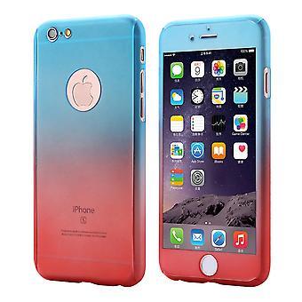 ファーウェイP10電話ケース保護ケース360フルカバータンク保護ガラスブルー/レッド