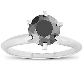 1ct Black Diamond kabal forlovelsesring 14K hvitt gull