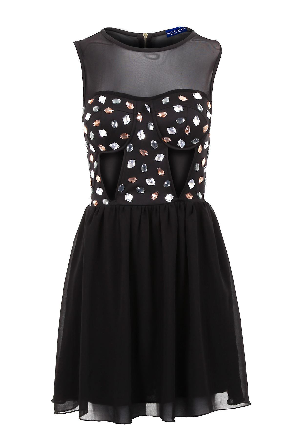 Ladies Mesh Insert Padded Bra Cut Out Jewels Short Chiffon Skirt Women's Dress