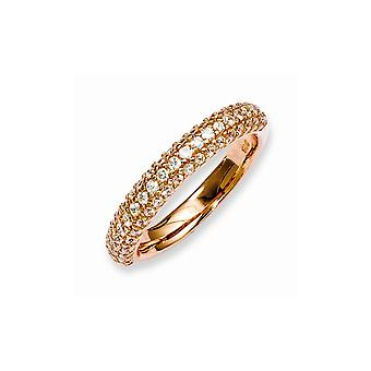 925 Sterling Silver Pave Polished Prong set Rose Gold Flashed Pink Plated With CZ Cubic Zirconia Simulated Diamond Ring