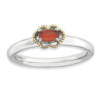 2.25mm 925 Sterling Silver Prong set and 14k Stackable Expressions Red Agate Polished Ring Jewelry Gifts for Women - Rin