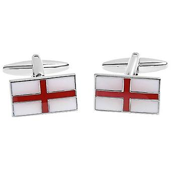 Zennor English Flag Cufflinks - White/Red/Silver