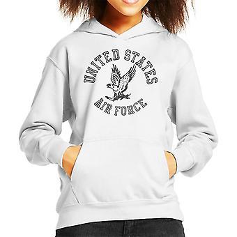 US Airforce Eagle svart Text Kid's Hooded Sweatshirt