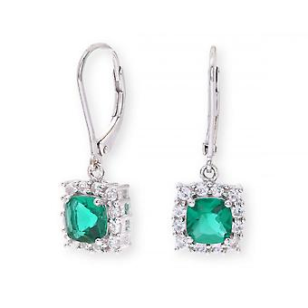 Star Wedding Rings Sterling Silver Earring Set With Emerald Gem Stone And With Sapphires