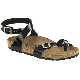 Womens Birkenstock Yara Birko-Flor svart Patent Strappy sommar sandaler