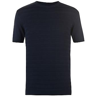 Firetrap Mens sticka T Shirt Crew Neck Tee Top Kortärmad bomull texturerat