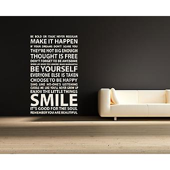 Smile Happy Rules Wall Sticker