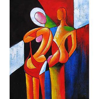 Man och kvinna, oljemålning på duk, 50x60 cm