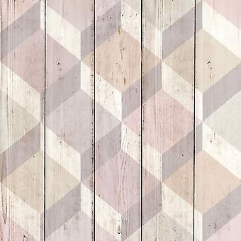 3D Cube Wood Effect Geometric Wallpaper Wooden Panel Plank Board Copenhagen Pink