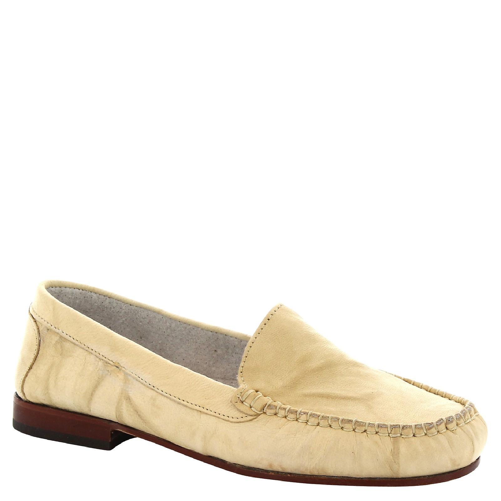 Leonardo Shoes Women's handmade slip-on loafers in cream calf leather Zuamg