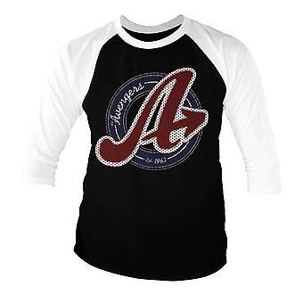 Men's Marvel Avengers Varsity Logo Baseball 3/4 Sleeve T-Shirt