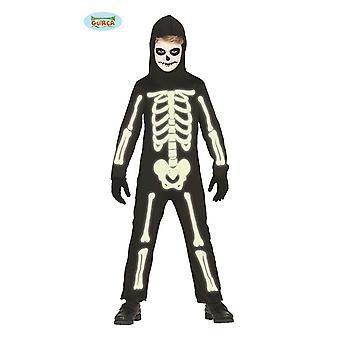 I den mörka lysande skelett för barn halloween barn kostym