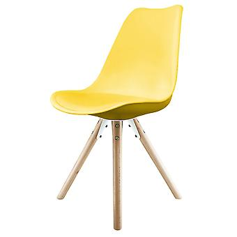 Fusion Living Eiffel Inspired Yellow Plastic Dining Chair With Pyramid Light Wood Legs