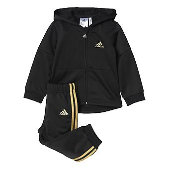 Adidas Infant ST Shiny Full Zip Hooded Tracksuit Set BP5307