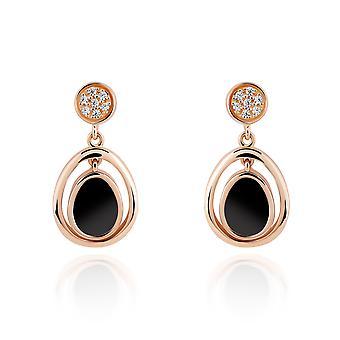 Orphelia 925 Silber Ohrring Rose Oval mit schwarzen Onyx und Zirkonium