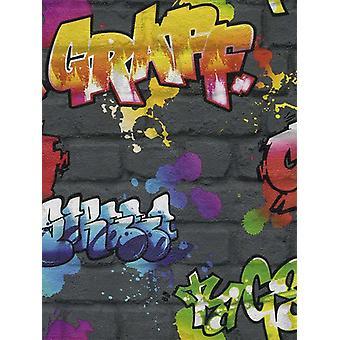 Graffiti Wallpaper Negro Rasch 237801