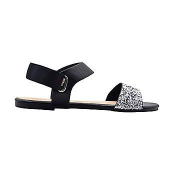 Via Rosa naisten muoti sandaalit Glitter Summer Flats metallinen elastinen Slipback hihna