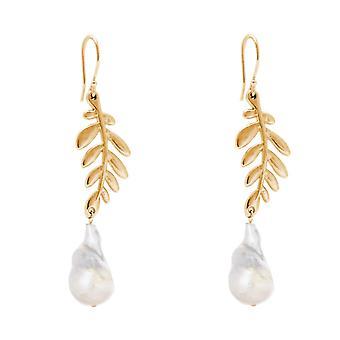 Gemshine øredobber olivengrener 22 mm barokk perler sølv, forgylt eller Rose