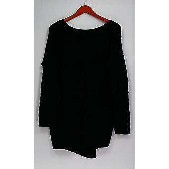 Kate & Mallory Sweater Long Sleeve w/ Split Open Back Black A438346