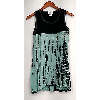 OSO Casuals Top Sleeveless Woven Shirttail Tank Blue Womens A419143