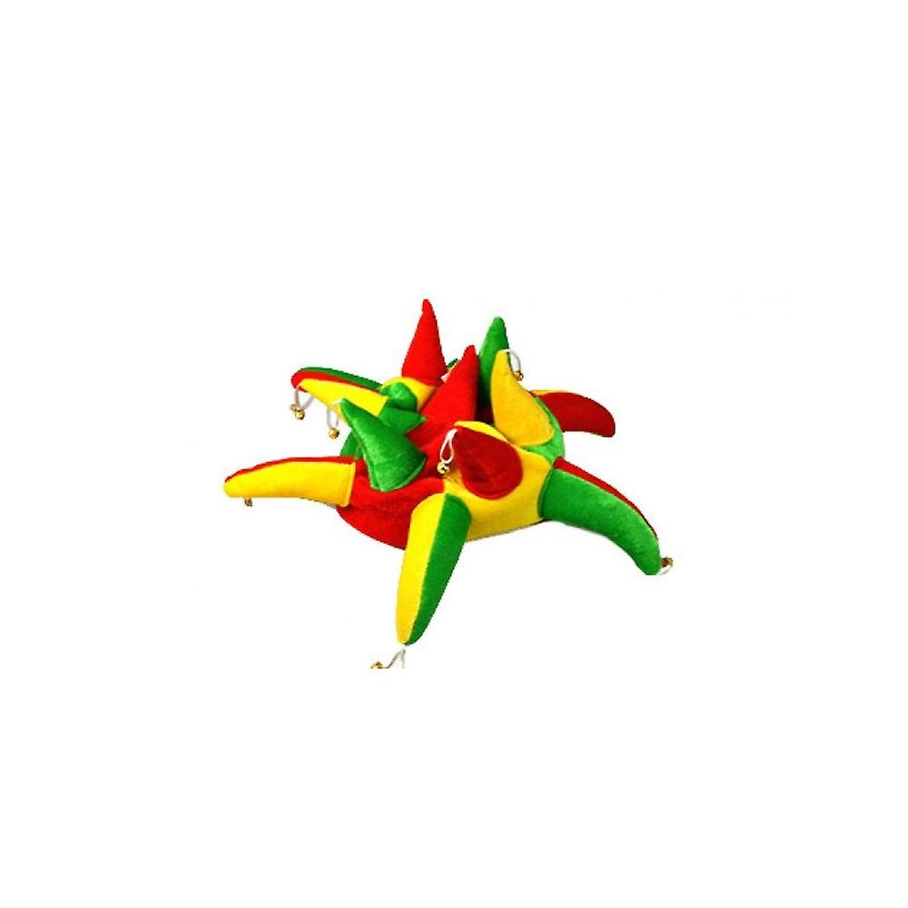 Union Jack Wear Red Green & Yellow Jester Hat With Bells