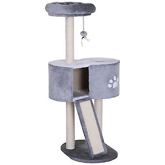 PawHut 125cm Cat Tree Cat Tower Condo with Ladder Kitty Activity Center Scratching Post Kitty Activity Centre Grey