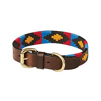 Weatherbeeta Polo Leather Dog Collar - Cowdray Brown/pink/blue/yellow
