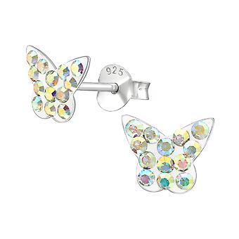Butterfly - 925 Sterling Silver Crystal Ear Studs - W4218X