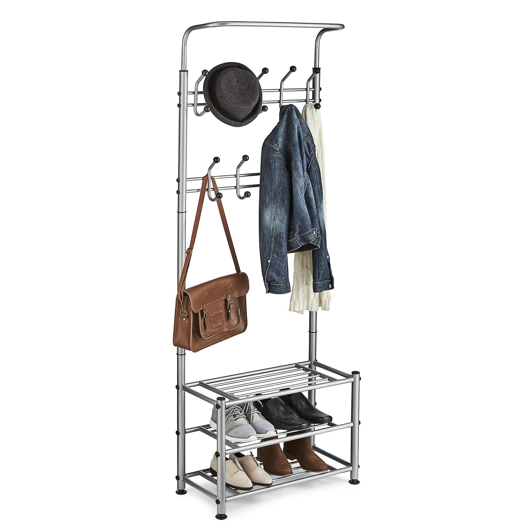 Multi Purpose Stand 18 Hooks For Clothes Shoes Hats Bags - Grey