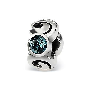 925 sterling sølv poleret antikke finish refleksioner december krystal perle charme